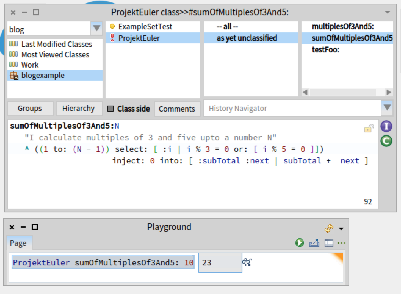 In Smalltalk, editing takes place in a central IDE with a class and method browser.